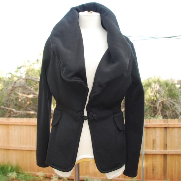 5573af9b342 Angel Jackets & Coats   Apparel Blk Jacket Unique Collar Wool Knit M ...